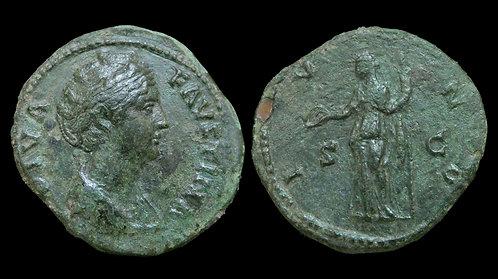 FAUSTINA I . AD 138-140 . AE Dupondius . Juno, Queen of the Gods