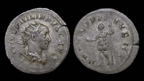 """PHILIP II, as Caesar . AD 244-246 . Antoninianus . """"PRINCIPI IVVENT"""""""