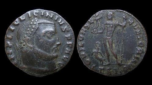 "LICINIUS I . AD 308-324 . Follis . ""Jupiter standing"" . Very Rare reverse legend"