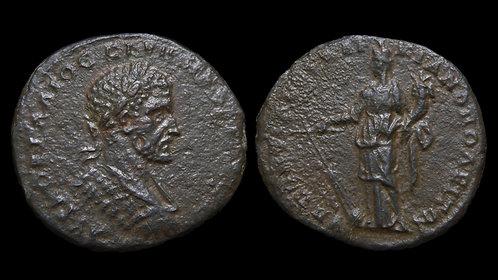 MACRINUS . MOESIA INFERIOR, Marcianopolis . AE26 . Tyche with rudder