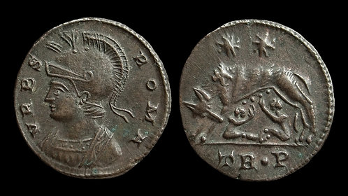"""VRBS ROMA, City Commemorative . AD 330-346 . AE3 . """"Wolf and Twins"""" . Trier"""