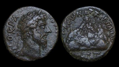 LUCIUS VERUS . CAPPADOCIA, Caesarea . AE20 . Sacred Volcano, Mount Argaeus