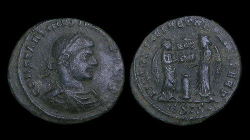 """CONSTANTINE II, as Caesar . AD 316-337 . AE3 . """"VICTORIA LAETAE"""""""