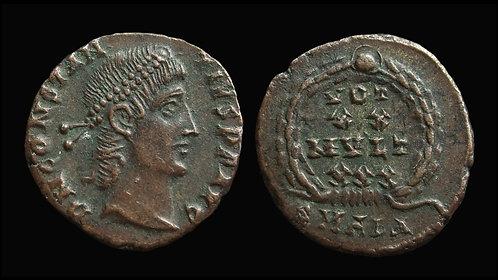 """CONSTANTIUS II . AD 337-361 . AE4 . """"Vota in wreath"""" . Alexandria"""