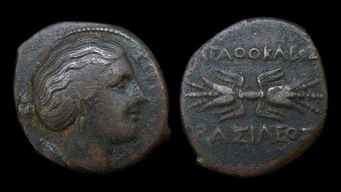 SICILY, Syracuse . Agathokles,  317-289 BC . Hemilitron . Ex Meisner Collection