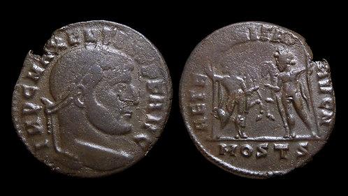 """MAXENTIUS . AD 306-312 . Follis . """"Dioscuri"""" . Ostia"""