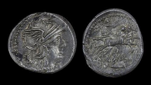 ROMAN REPUBLIC . M Marcius Mn f, 134 BC . Denarius . Victory in Biga