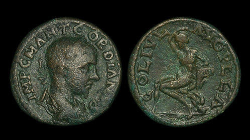 GORDIAN III . MACEDON, Pella . AE25 . Pan, God of the Wilds