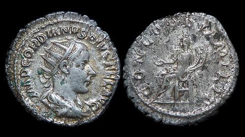 GORDIAN III . AD 238-244 . AR Antoninianus . Concordia . *Pedigreed*