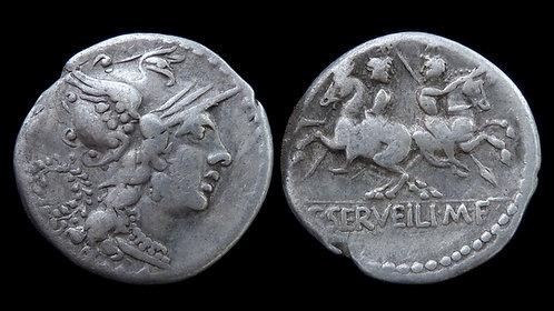 ROMAN REPUBLIC . C. Servilius M.f., 136 BC . AR Denarius . The Dioscuri