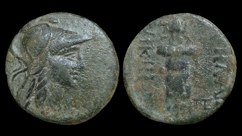 MYSIA, Pergamon . Mid-late 2nd century BC . AE20 . Athena / Trophy