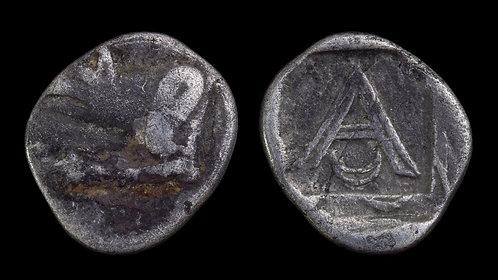 ARGOLIS, Argos . 330-270 BC . AR Triobol . Forepart of Wolf