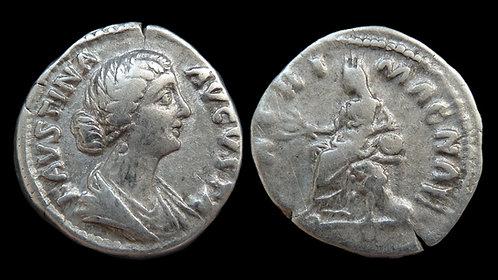 """FAUSTINA II . AD 161-175 . Denarius . """"MATRI MAGNAE"""" . Scarce"""