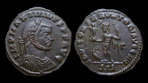 "MAXIMINUS II DAIA . AD 310-313 . Follis . ""Jupiter standing"" . Siscia"