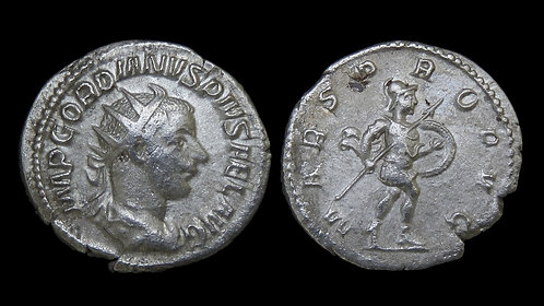 GORDIAN III . AD 238-244 . AR Antoninianus . Mars, the God of War