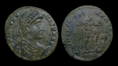 "THEODOSIUS I . AD 379-395 . AE2 . ""VIRTVS EXERCITI"" . Nicomedia"