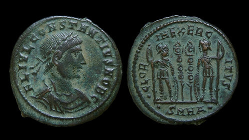 "CONSTANTIUS II, as Caesar . AD 324-337 . AE3 . ""Glory of the Army"" . Heraclea"