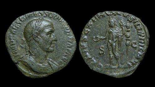 """TRAJAN DECIUS . AD 249-251 . Sestertius . """"Genius of Illyricum"""" . RARE"""
