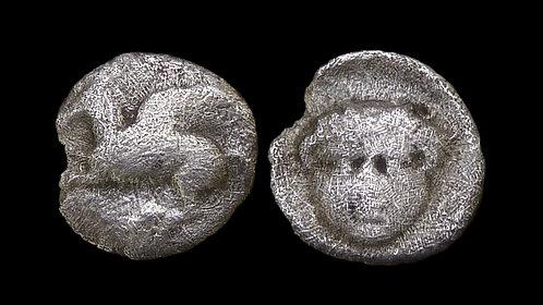 CORINTHIA, Corinth . 347-307 BC . AR Trihemiobol . Gorgoneion . **Rare**
