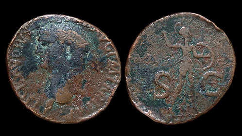 CLAUDIUS . AD 41-54 . AE As . Minerva, Goddess of Wisdom and War