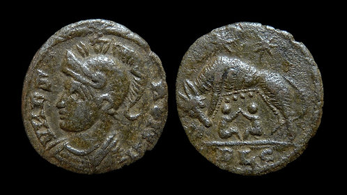 """VRBS ROMA, City Commemorative . AD 330-346 . AE4 . """"Wolf and Twins"""