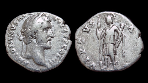 ANTONINUS PIUS . AD 138-161 . AR Denarius . Virtus, the paragon of Virtue