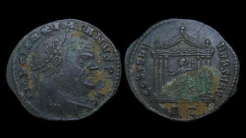 MAXIMIANUS (Second Reign) . AD 306-308 . Follis . Temple of Roma **Pedigreed**