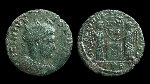 LICINIUS II . AD 317-324 . Follis . Two Victories **Unique and unpublished**