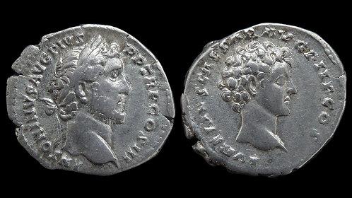 ANTONINUS PIUS . AD 138-161 . Denarius . Double bust dynastic issue