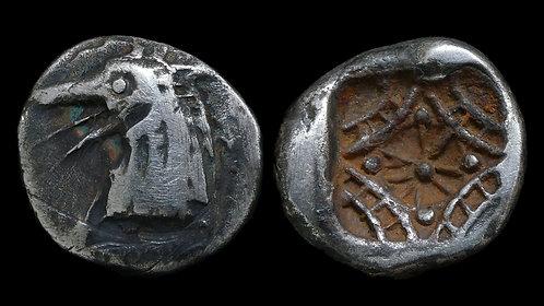 CARIA, Halikarnassos . 510-480 BC . AR Tetrobol . Head of the monstrous Ketos