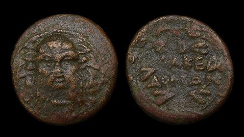 MACEDON, as Roman Protectorate . 166-165 BC . AE24 . Mask of Silenos