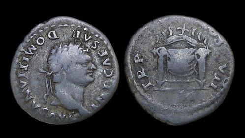 DOMITIAN . AD 81-96 . AR Denarius . Rare first issue as Augustus