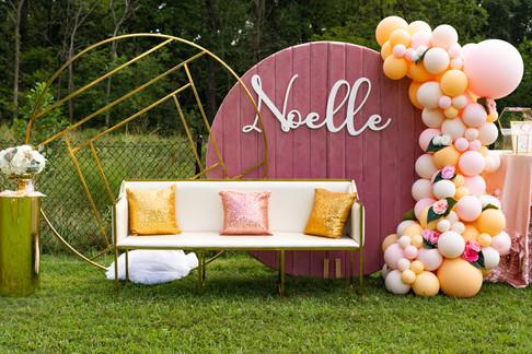 Balloon garland on Circle Wall