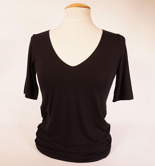 Majestic Shirt V-neck  schwarz