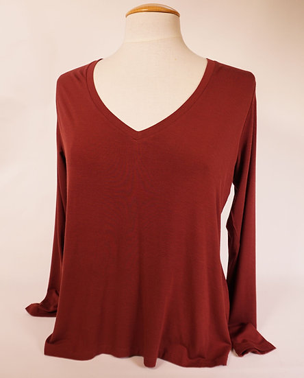 Majestic Shirt V-neck, burgundrot