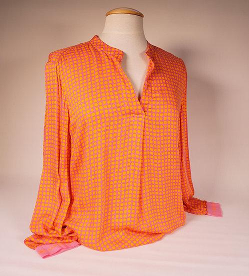Emily Bluse , Punkte orange auf pink