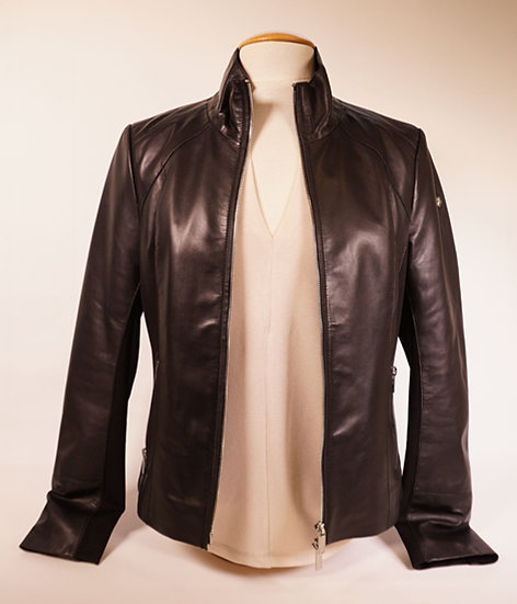 Lederjacke von Milestone, schwarz