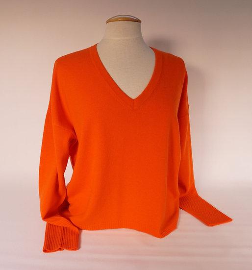 Pulli V-neck, 100% Cashmere,orange