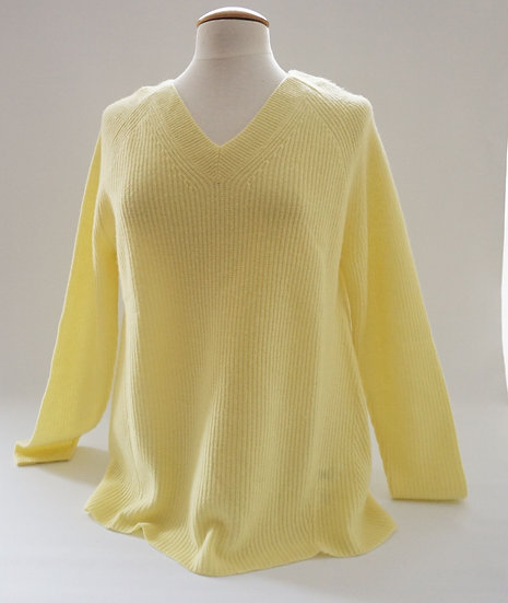 V-neck Pulli, Cashmere, gelb
