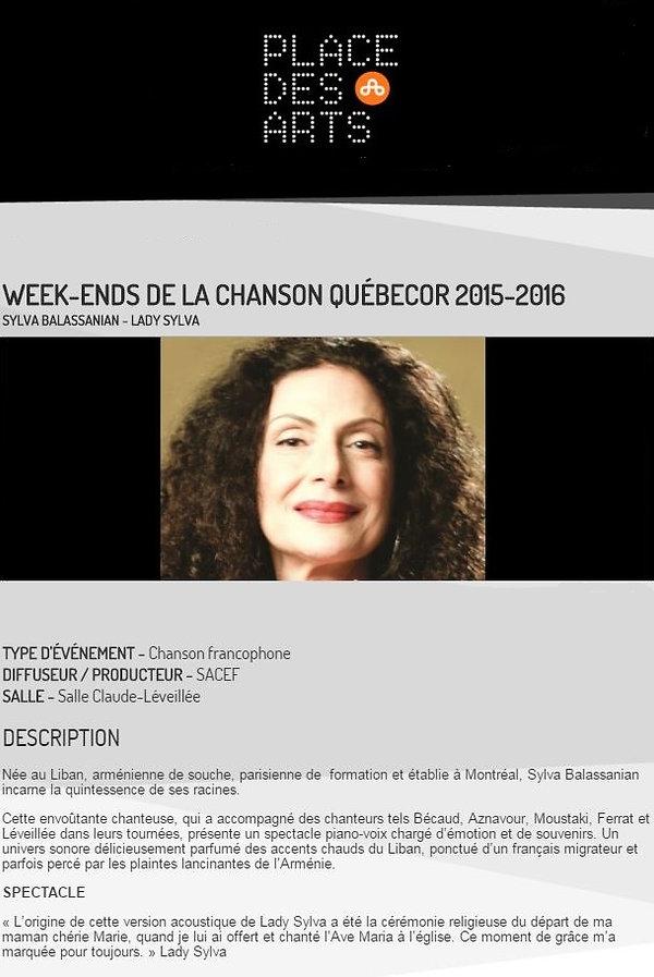 Concert 6 mai 2016 Place des Arts Salle Claude Léveillée 20h