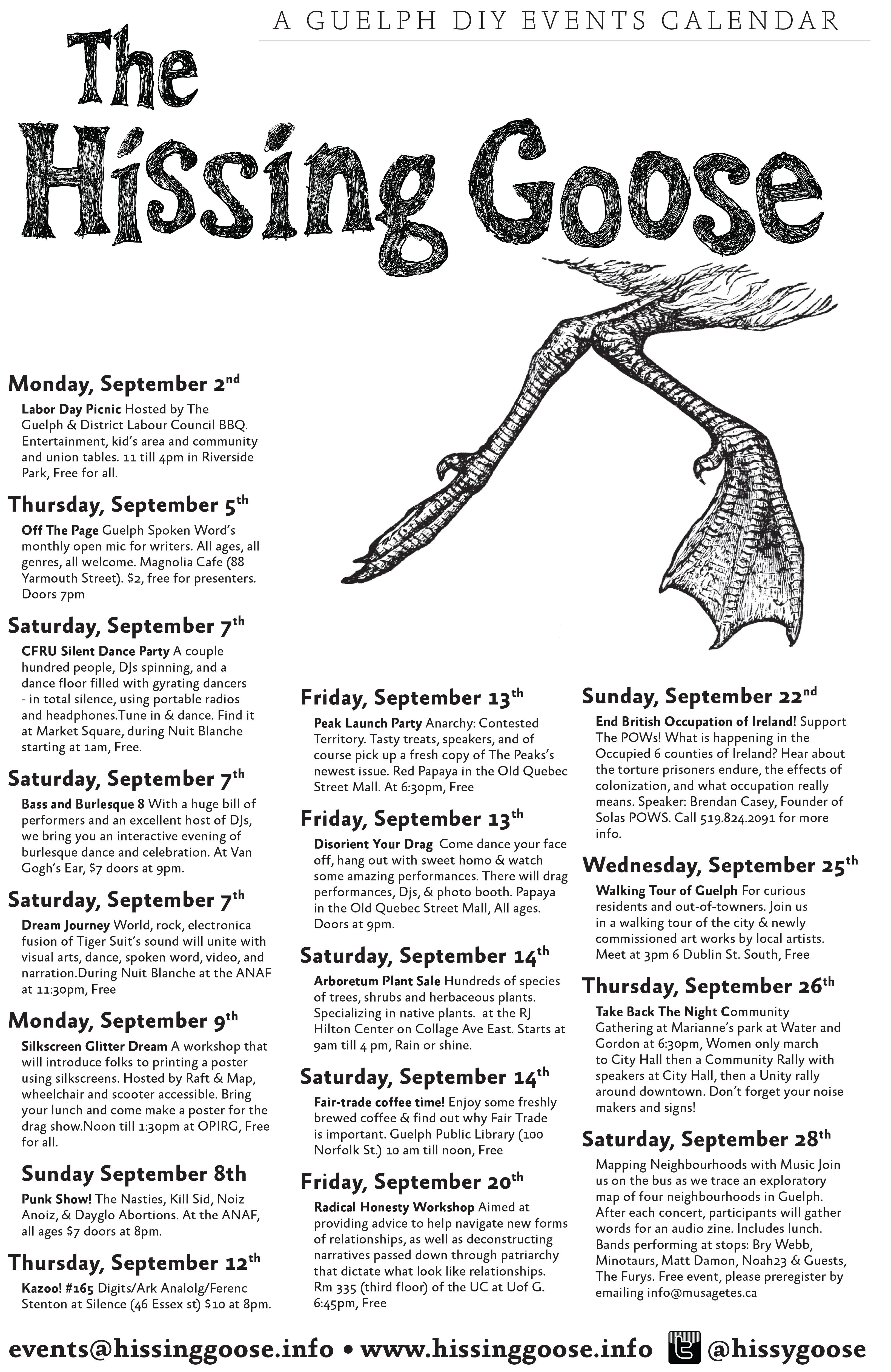 Hissing Goose Calendar
