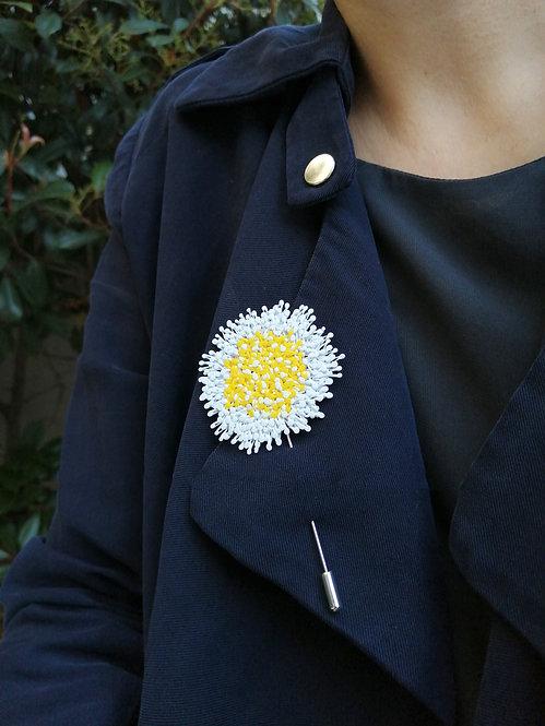 Dandelion Yaka İğnesi Beyaz-Sarı