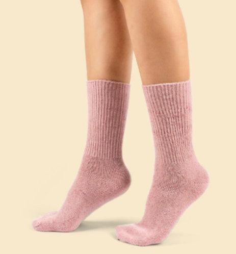 Fuzzy Kışlık Pembe Yün Çorap