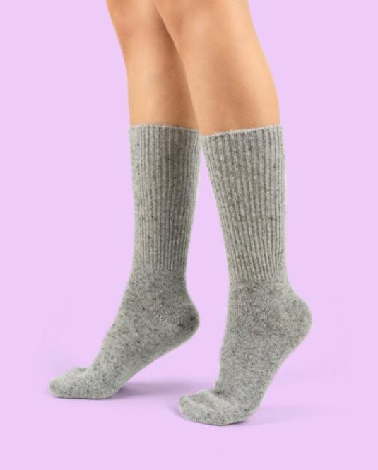 Fuzzy Kışlık Gri Yün Çorap