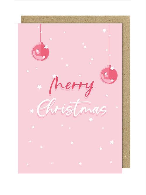 Merry Christmas Pembe Kartpostal