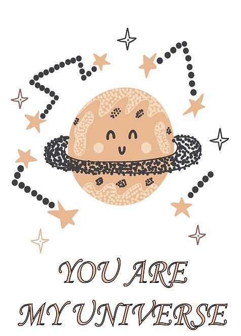 'You're my universe' tebrik kartı
