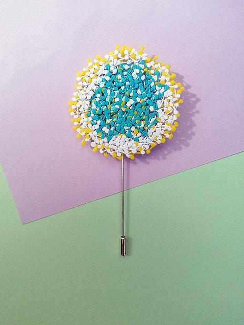 Dandelion Yaka İğnesi Mavi-Beyaz-Sarı