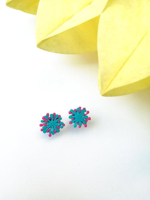 Dandelion Küpe-Mavi Pembe Küçük