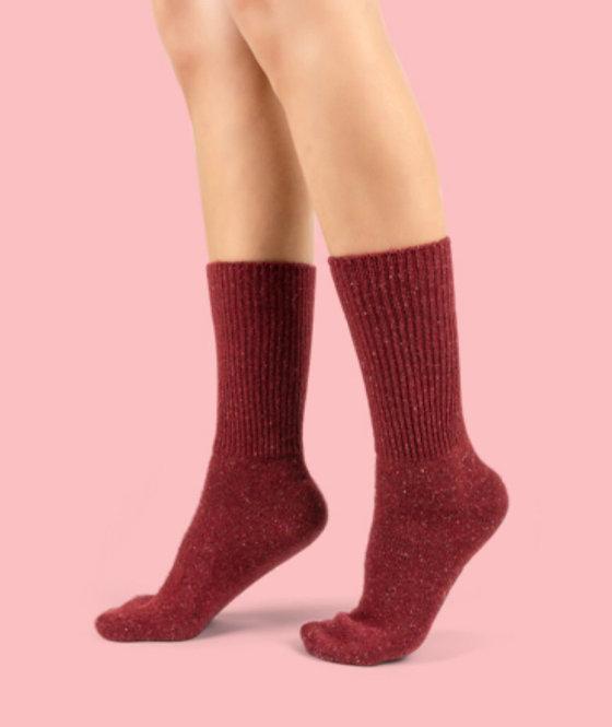 Fuzzy Kışlık Bordo Yün Çorap