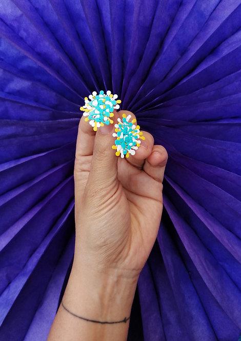 Dandelion Küpe-Mavi Beyaz Sarı
